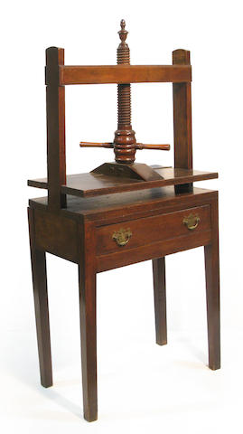 A George II stained hardwood book press