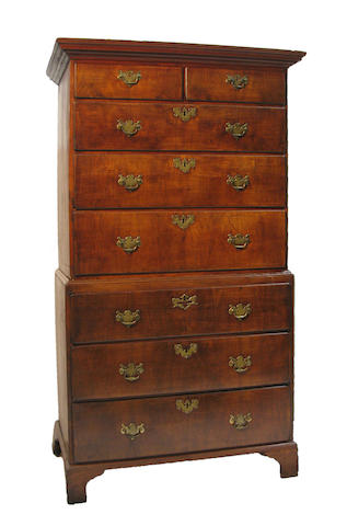A late George II/early George III walnut chest on chest 18th century