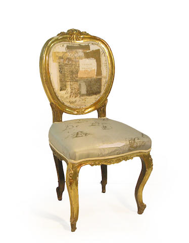 A Rococo style giltwood side chair