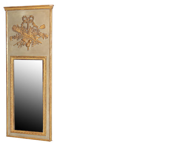 A Louis XVI style  giltwood and painted trumeau mirror 19th century