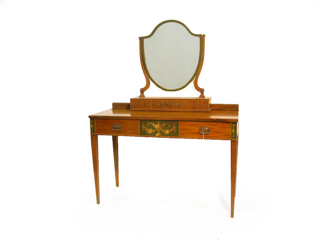 A George III style painted satinwood dressing table with mirror and stool 20th century