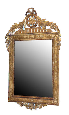 A Continental Neoclassical parcel gilt and painted mirror late 18th century with restorations