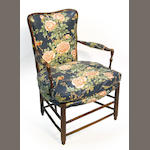 Two simmilar French ladder back beech armchairs second half 19th century