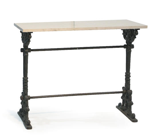 A cast iron and marble work table 19th century