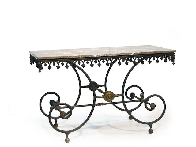 A French cast iron, brass and marble baker's table 19th century