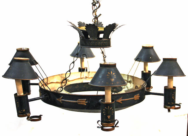 A Neoclassical tole painted six light chandelier second half 19th century