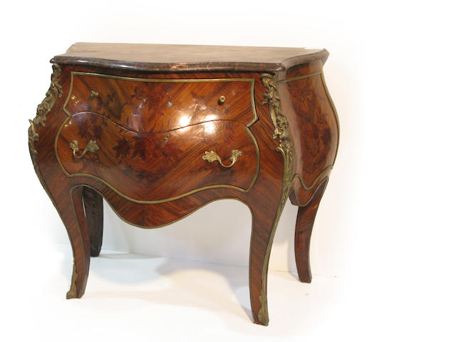 A pair of Louis XVI style  bombé commodes