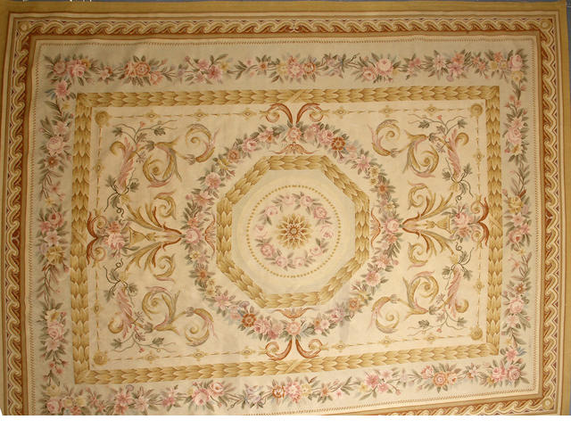 A Chinese Aubusson Design carpet  size approximately 9ft. 1in. x 12ft. 5in.