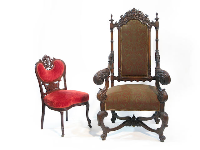 A Baroque style beechwood armchair and a Rococo style walnut side chair armchair late 19th century <BR />side chair circa 1860