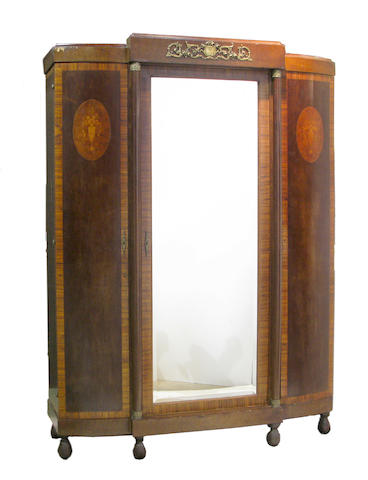 A Louis XVI style rosewood and elmwood inlaid mirrored armoire late 19th century