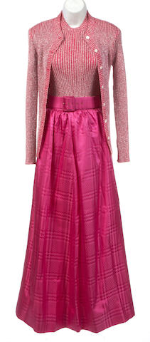 A long fushia silk jackard skirt
