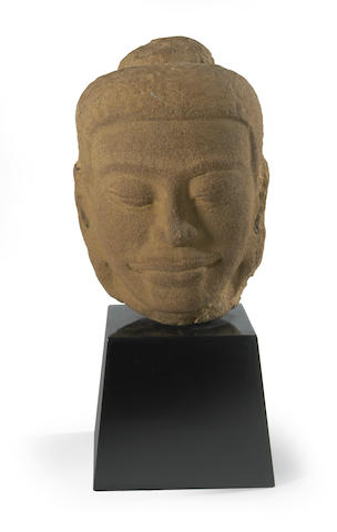 A Thai sandstone head of Buddha 1100-1300 AD