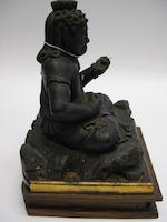 A black lacquer wood figure of Fudo-myoo 19th century