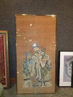 A large kesi-woven silk panel depicting the Three Stars of Happiness Late Qing dynasty