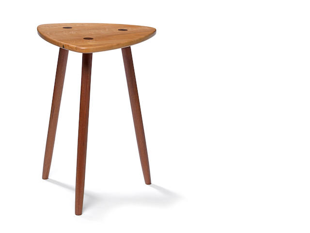 A contemporary mixed hardwood stool<BR />Thomas Sayah<BR />Ashland, Oregon