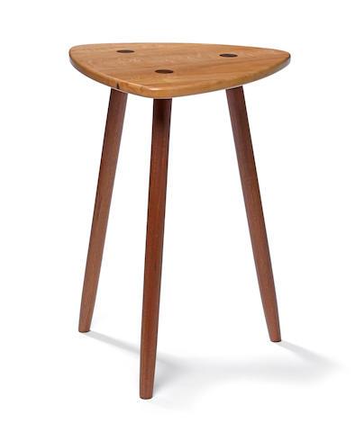 A contemporary mixed hardwood stool<BR />Thomas Sayah<BR />Ashland, Oregon