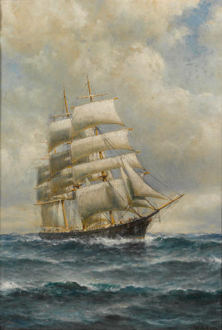 William Alexander Coulter (1849-1936) Three-masted ship on open seas 29 1/2 x 20 1/2in