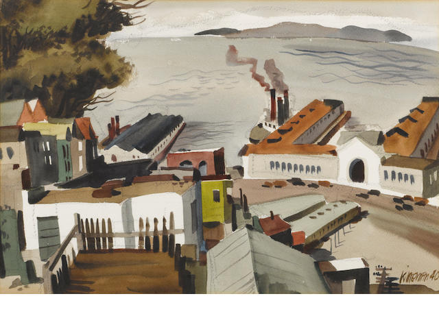 Dong Kingman (American, 1911-2000) San Francisco waterfront, 1940 15 x 23in