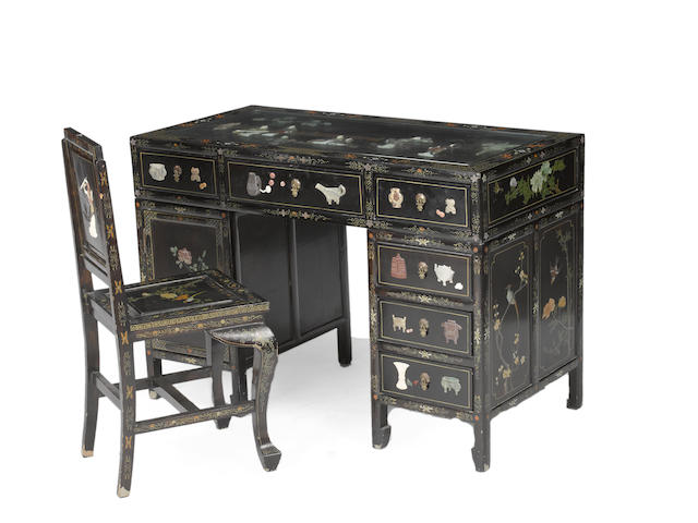 A three section export style black lacquered wood desk and chair with overlay decoration 20th century