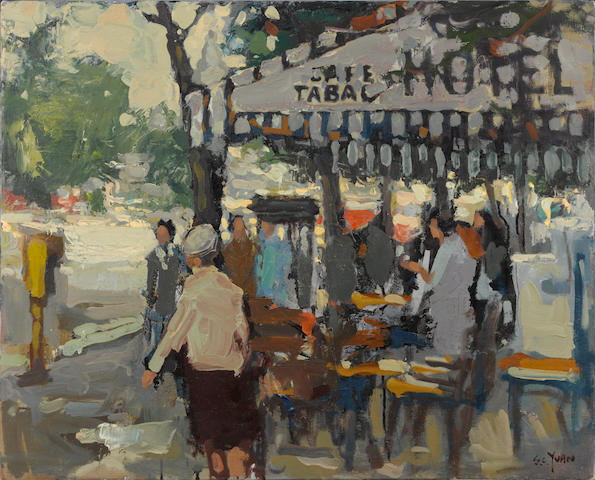 Si Chen Yuan (1911-1974) Cafe Tabac 24 x 30in