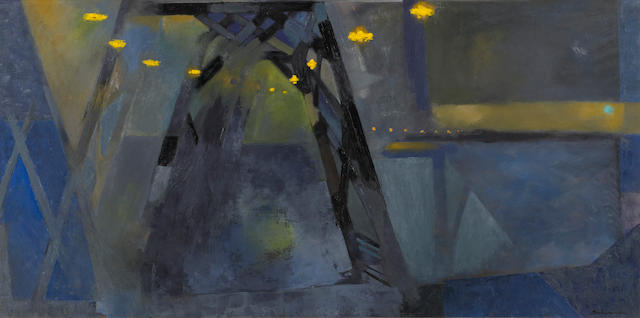 Jason Schoener (American, 1919-1997) Bridge at night 24 x 48in