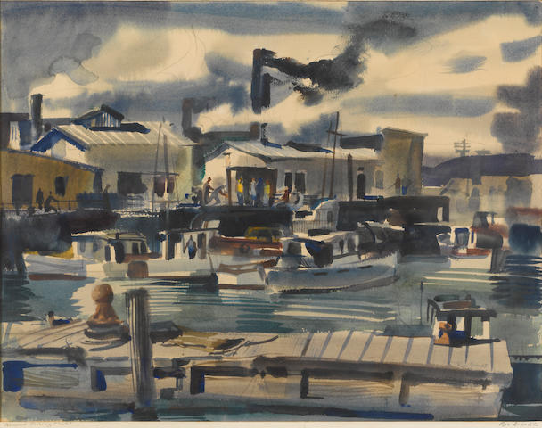 Rex Brandt (American, 1914-2000) Newport fishing fleet 20 1/4 x 26 1/2in