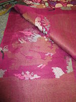 A magenta ground gauze brocade summer dragon robe Late Qing dynasty