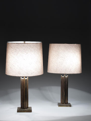 A Pair of Table Lamps attributed to Marc du Plantier circa 1960  gilt metal  Height: 28 3/8 in. 72 cm.
