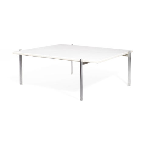 A coffee table with square white marble top and metal base Poul Kjaerholm