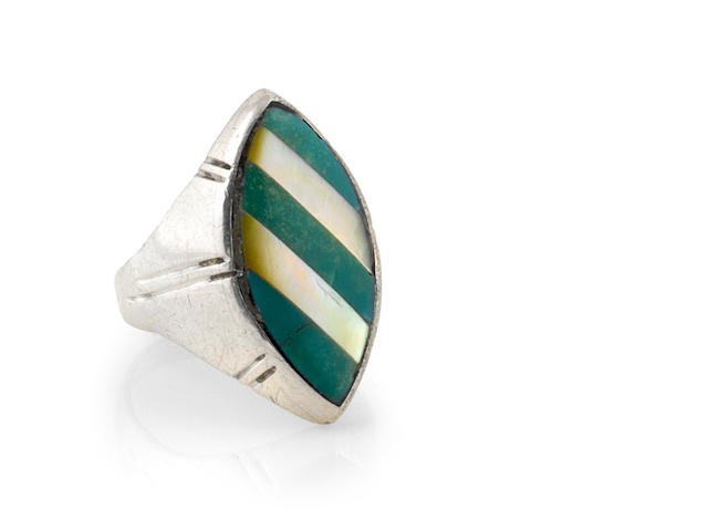 A TURQUOISE AND MOTHER OF PEARL(STRIPED) SILVER RING