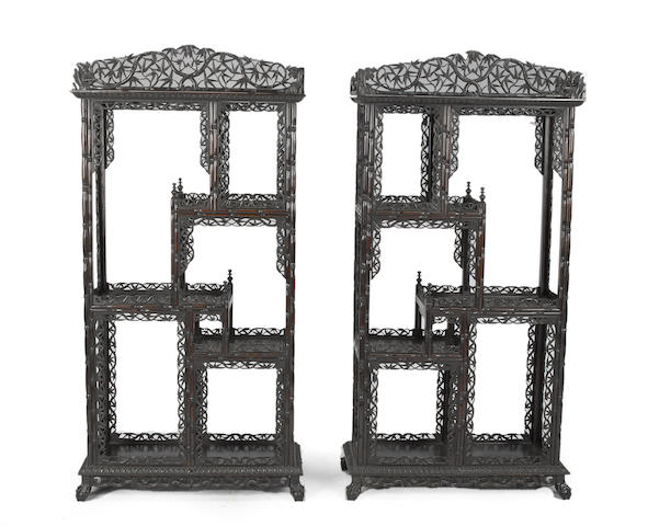 A pair of export style mixed wood display cabinets Late Qing/Republic period