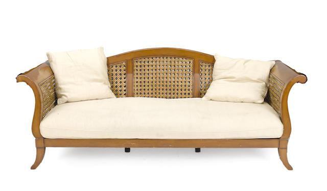A contemporary Classical style caned settee