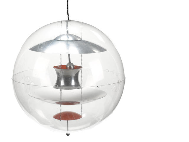 A Verner Panton acrylic and aluminum pendant globe light designed 1969