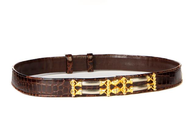 A Judith Leiber alligator belt