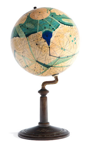 Brun, Ingeborg Mars globe on bronze stand, manuscript + photo of Flammarion