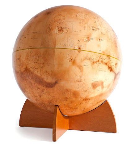 DENOYER-GEPPERT. [Label on base:] Visual-Relief Mariner 9 Mars Globe. Chicago, IL: Denoyer-Geppert Co., 1973.