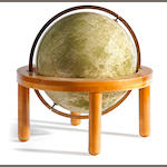 Pergamon Press Lunar globe, based on Luna III, wooden stand