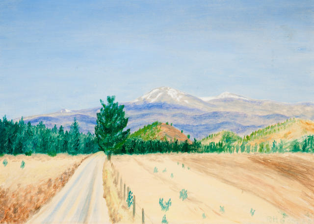 "GODDARD, ROBERT H. Mount Ruidoso, oil on board, 420 x 600 mm, signed lower right ""R.H. Goddard,"""