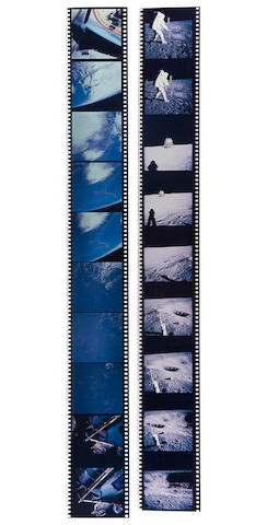 APOLLO 9 & 11. Group of 32 short strips of duplicate positives from the astronauts' Hasselblad cameras, March 3-July 24, 1969,