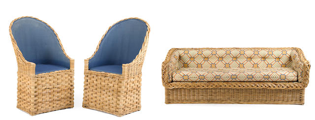 A contemporary suite of wicker seating furniture  20th century