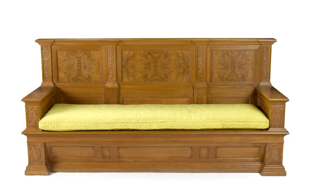 An Italian Renaissance style walnut bench late 19th century