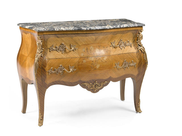 A Louis XV style kingwood and marquetry marble top commode 20th century