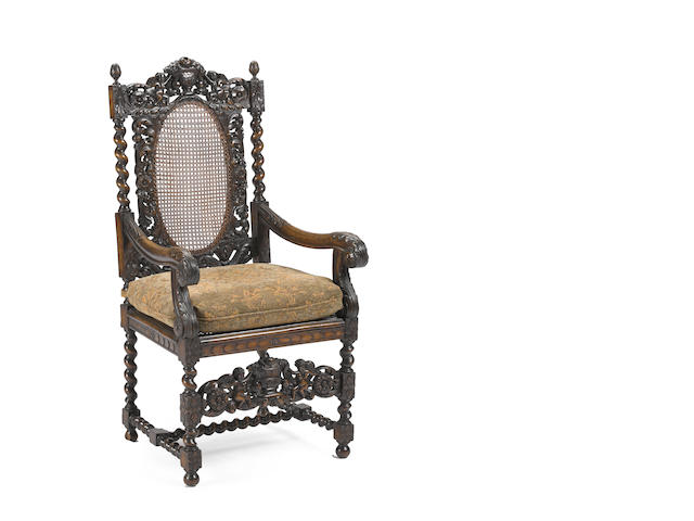 A pair of Baroque style  walnut armchairs late 19th century
