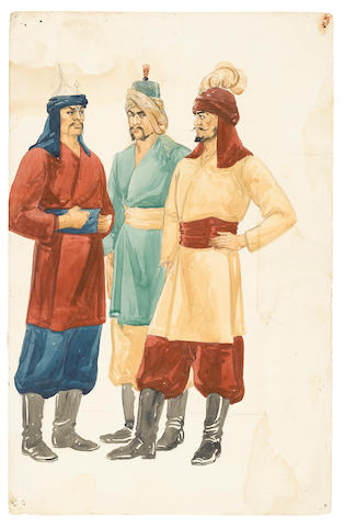 A GROUP OF SIX ORIGINAL COSTUME DESIGNS BY UNITED COSTUMERS