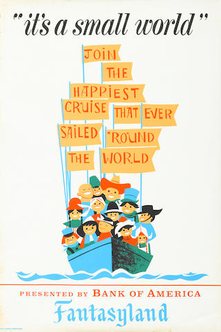 "IT'S A SMALL WORLD POSTER.  APPROX. 54"" X 36"","