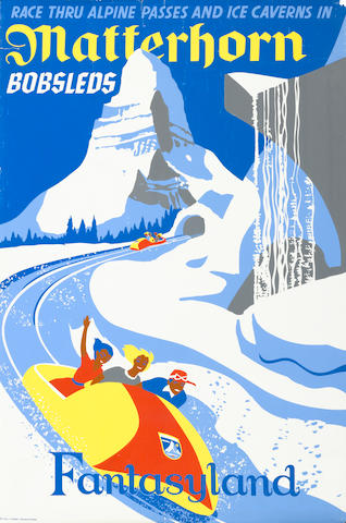 A Disneyland Matterhorn Bobsleds attraction poster