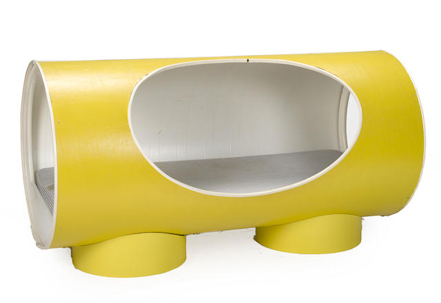 A Contemporary yellow vinyl tubular bed circa 1970