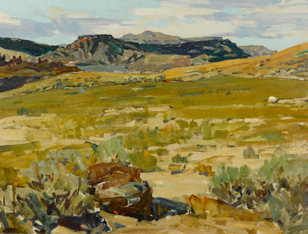 Frank Tenney Johnson (American, 1874-1939) Wyoming sand brush 18 x 24in