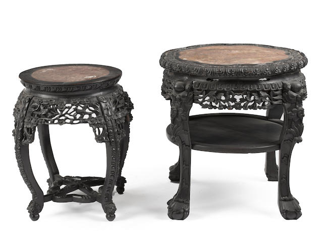 Two export style hardwood display stands with red marble inlay Late Qing/Republic period