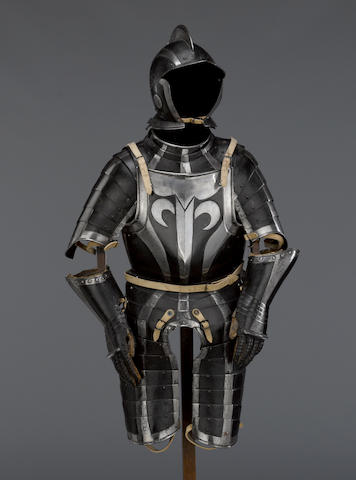 A Black And White Three-Quarter Armor